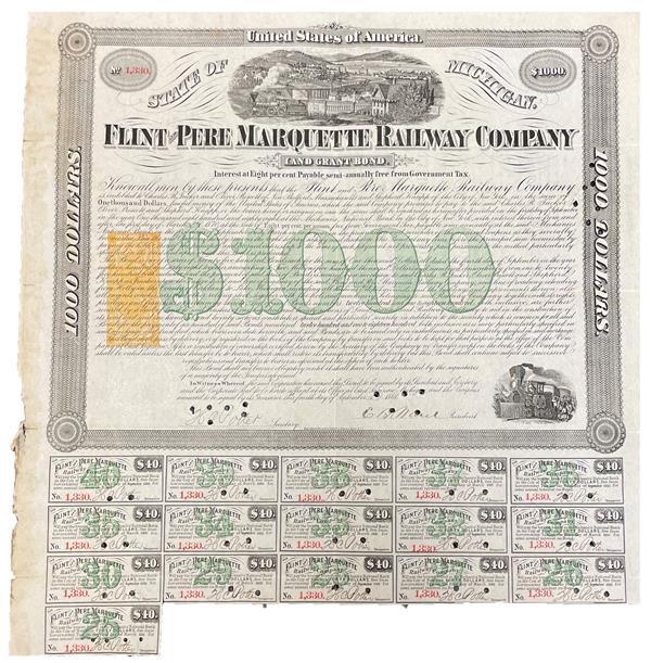 $1 Orange, Washington, Type W on Land Grant Bond, Flint and Pere Marquette Railway Company
