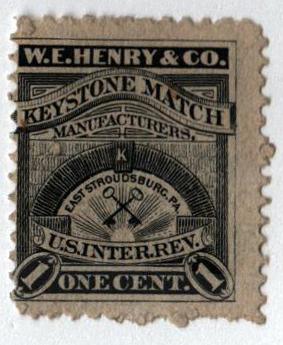 1878 1c Proprietary Match Stamp - W.E. Henry & Co, black, watermark 191R