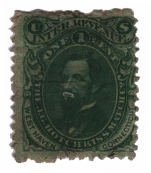 1864 1c Proprietary Match Stamp - J.G. Hotchkiss Match Co., green, silk paper