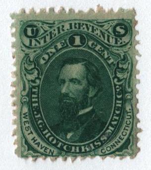 1864 1c Proprietary Match Stamp - J.G. Hotchkiss Match Co., green, watermark 191R