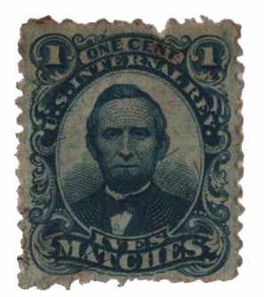 1864 1c Proprietary Match Stamp - P.T. Ives, blue, silk paper