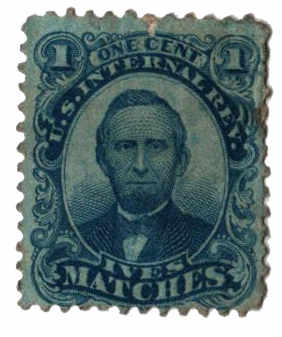 1864 1c Proprietary Match Stamp - P.T. Ives, blue, watermark 191R