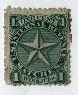 1864 1c Proprietary Match Stamp - Ives & Judd, green, silk paper