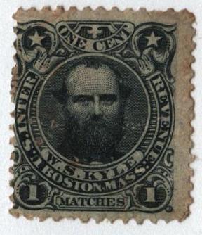 1864 1c black, old paper