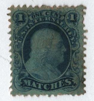 "1864 1c Proprietary Match Stamp - ""Matches,"" blue, silk paper"