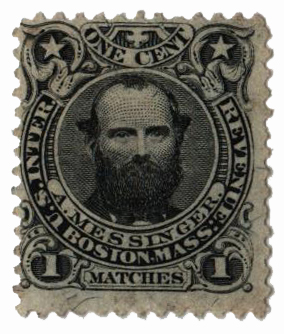 1864 1c Proprietary Match Stamp - A. Messinger, black, silk paper