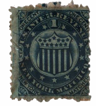 1864 1c blue, shield