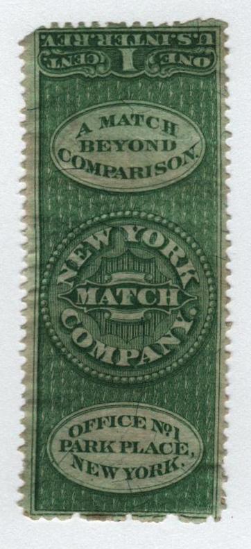 1864 1c Proprietary Match Stamp - New York Match Co, green, silk paper
