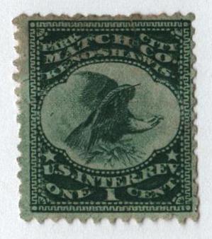 1864 1c Proprietary Match Stamp - Park City Match Co, green, silk paper