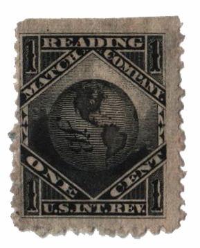 1864 1c Proprietary Match Stamp - Reading Match Co, black, watermark 191R