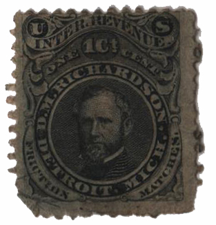 1864 1c Proprietary Match Stamp - D.M. Richardson, black, silk paper