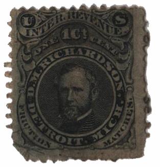 1864 1c Proprietary Match Stamp - D.M. Richardson, black, silk paper