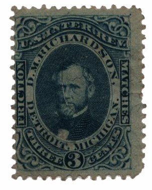1864 3c Proprietary Match Stamp - D.M. Richardson, blue, silk paper