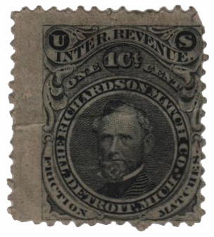 1864 1c Proprietary Match Stamp - Richardson Match Co, black, watermark 191R