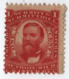 1864 1c Proprietary Match Stamp - Schmitt & Schmittdiel, vermilion, silk paper