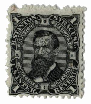 1864 1c Proprietary Match Stamp - H. Stanton, black, silk paper