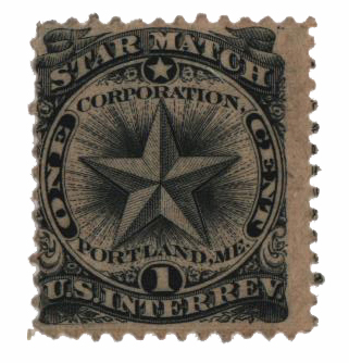 1864 1c Proprietary Match Stamp - Star Match, black, old paper