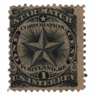 1864 1c Proprietary Match Stamp - Star Match, black, old paper
