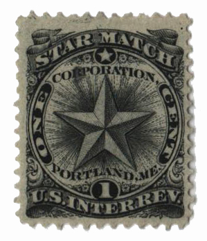 1864 1c Proprietary Match Stamp - Star Match, black, silk paper