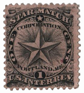 1864 1c Proprietary Match Stamp - Star Match, black, pink paper
