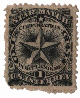 1864 1c Proprietary Match Stamp - Star Match, black, double watermark