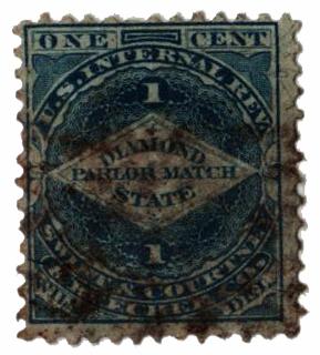 1864 1c Proprietary Match Stamp - Swift & Courtney & Beecher, blue, silk paper