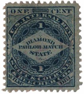1864 1c Proprietary Match Stamp - Swift & Courtney & Beecher, blue, pink paper