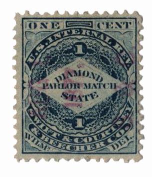 1864 1c Proprietary Match Stamp - Swift & Courtney & Beecher, blue, watermark 191R