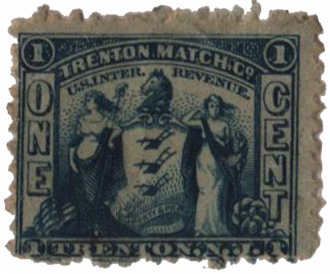 1864 1c Proprietary Match Stamp - Trenton Match Co, blue, watermark 191R