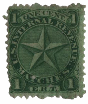 1864 1c green, silk paper