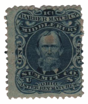 1864 1c Proprietary Match Stamp - Barber Match Co, blue, watermark 191R
