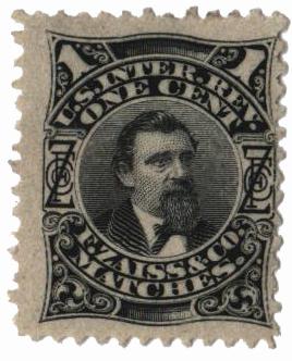 1864 1c black, silk paper