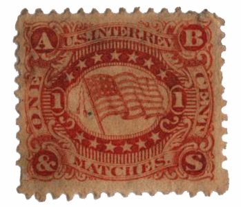 1864 1c Proprietary Match Stamp - Bauer & Beudel, orange, old paper