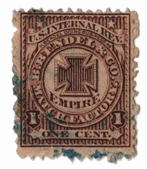 1864 1c Proprietary Match Stamp - H. Bendel, brown, watermark 191R