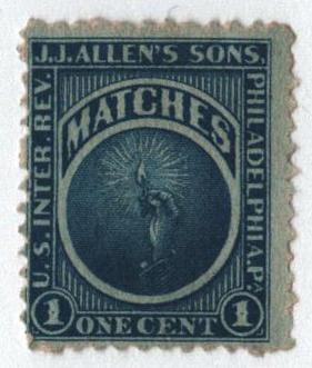1864 1c Proprietary Match Stamp - J.J. Allens Sons, blue, watermark 191R