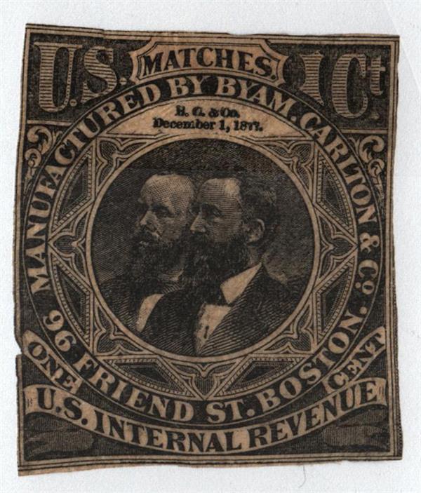 1862 1c Proprietary Match Stamp - Byam, Carlton & Co, black, old paper