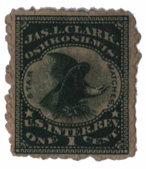 1864 1c Proprietary Match Stamp - Jas. L. Clark, green, silk paper