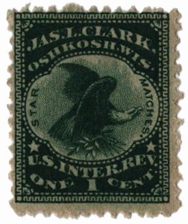 1864 1c Proprietary Match Stamp - Jas. L. Clark, green, silk paper, watermark 191R
