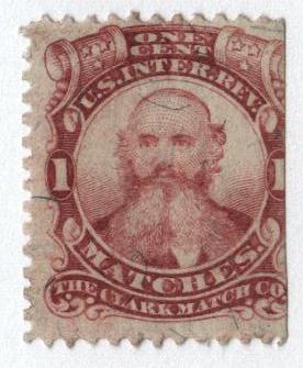 1864 1c lake, silk paper