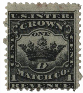 1871-77 1c Proprietary Match Stamp - Crown Match Co, black, silk paper