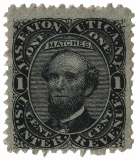 1864 1c Proprietary Match Stamp - Jas. Eaton, black, silk paper