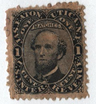 1864 1c Proprietary Match Stamp - Jas. Eaton, black, watermark 191R