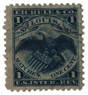 1864 1c Proprietary Match Stamp - Eichele & Co, blue, silk paper