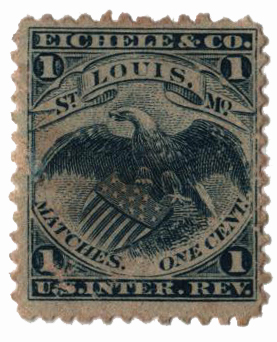1864 1c Proprietary Match Stamp - Eichele & Co, blue, watermark 191R