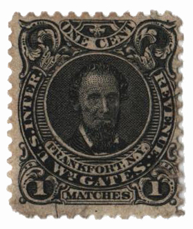 1864 1c Proprietary Match Stamp - Wm. Gates, die I, black, silk paper