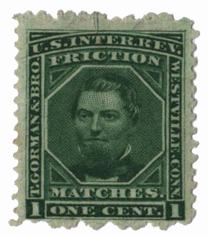 1864 1c Proprietary Match Stamp - T. Gorman & Bro, green, old paper