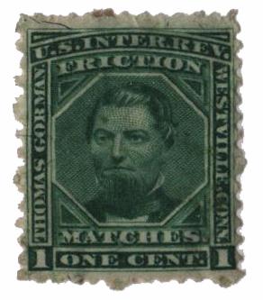 1864 1c Proprietary Match Stamp - Thomas Gorman, green, silk paper
