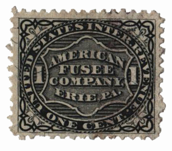 1864 1c Proprietary Match Stamp - American Fusee Co, black, silk paper