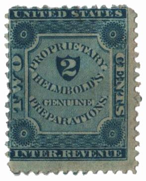 1862 2c Proprietary Medicine Stamp - Helmbolds, blue, old paper
