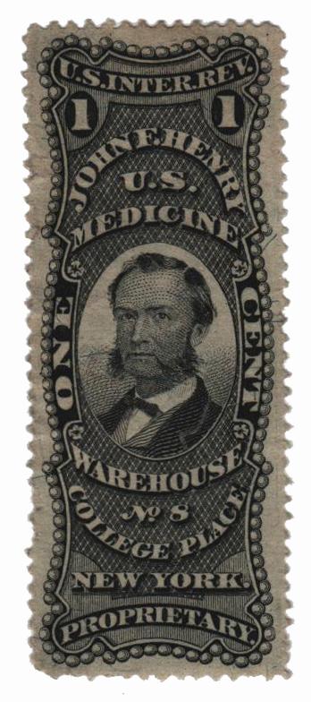 1862 1c Proprietary Medicine Stamp - J.F. Henry, black, silk paper